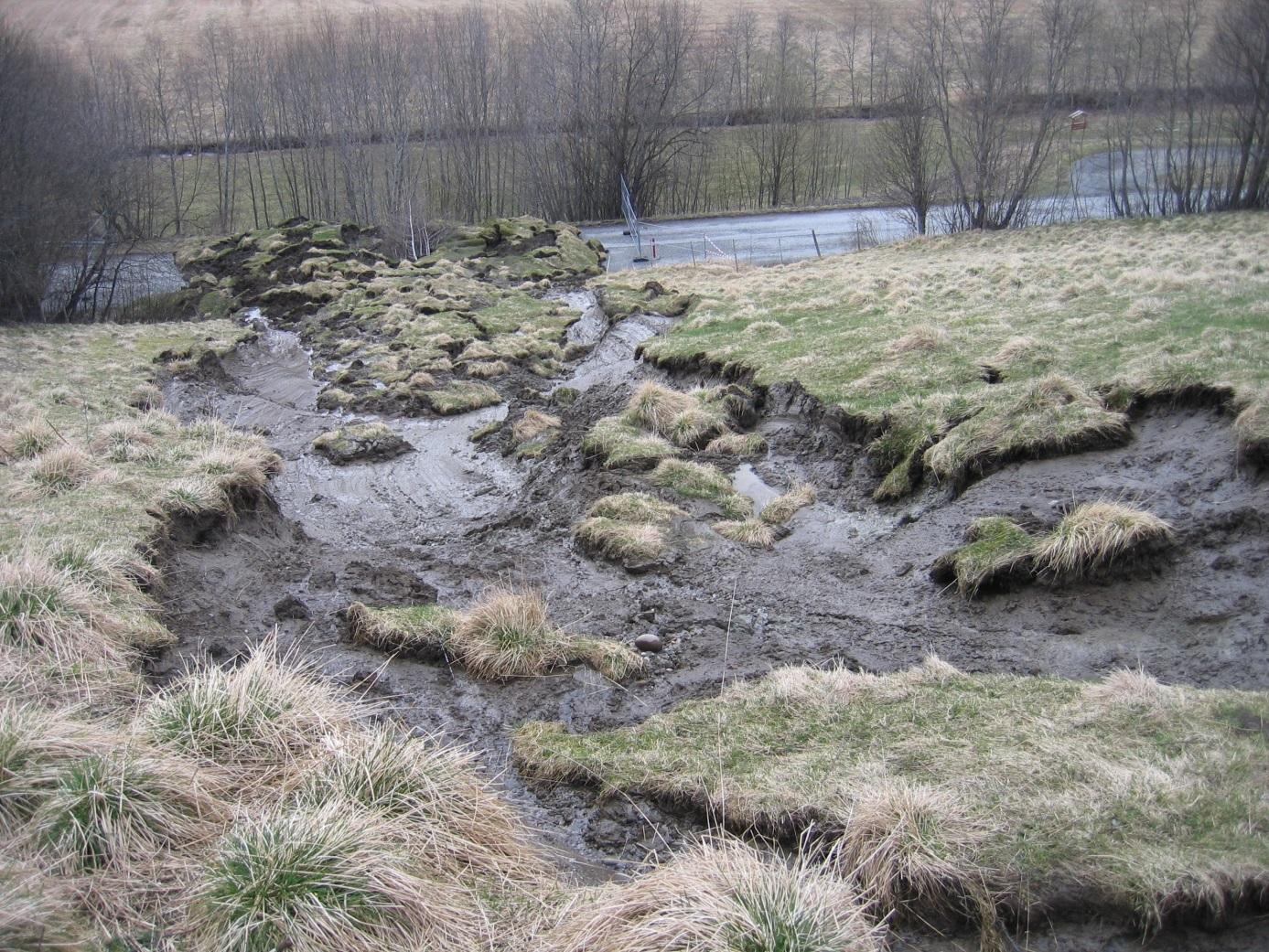 Bilde av overflateutglidning i jord- og torvmasser.