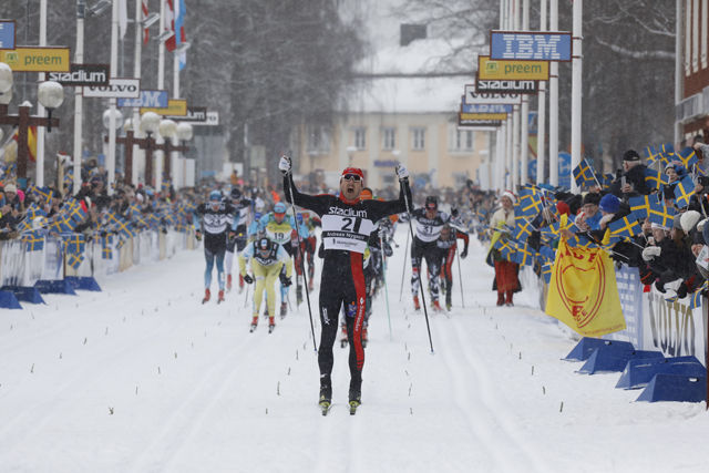 Andreas Nygård med klar ledelse mot mål. Foto: Arrangøren
