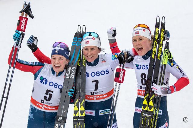 De tre raskeste på 3-mila; Diggins, Bjørgen og Haga. (Foto: Sylvain Cavatz)