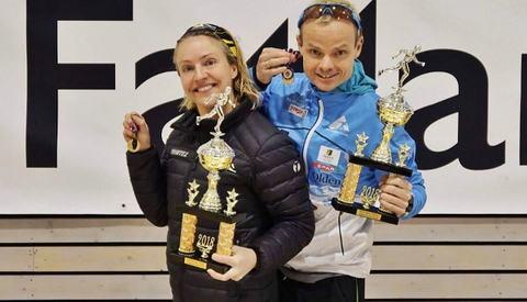 NM-vinnerne Therese Falk og Bjørn Tore Kronen Taranger. Foto fra Tarangers facebookside