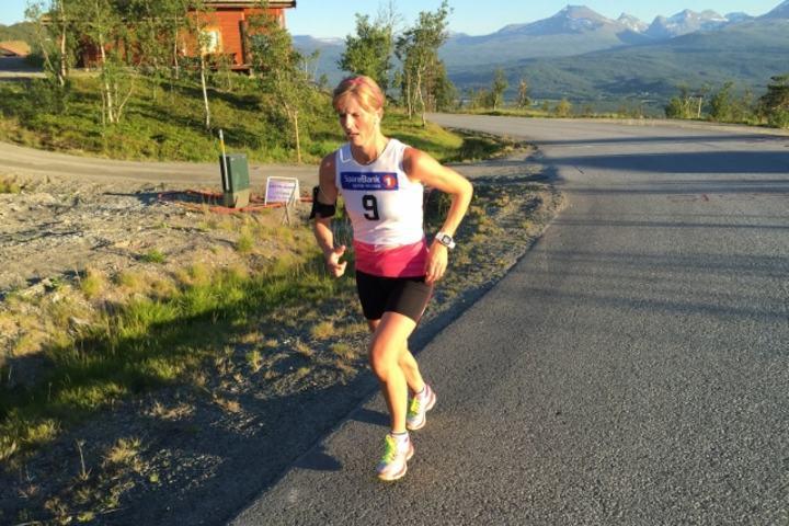 Gry på et bakkeløp i Målselv Fjellandsby. (Privat foto)