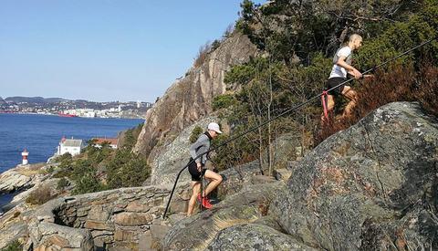 Trappeklatring på Odderøya var et nytt innslag i årets alternative løype. Arrangørfoto