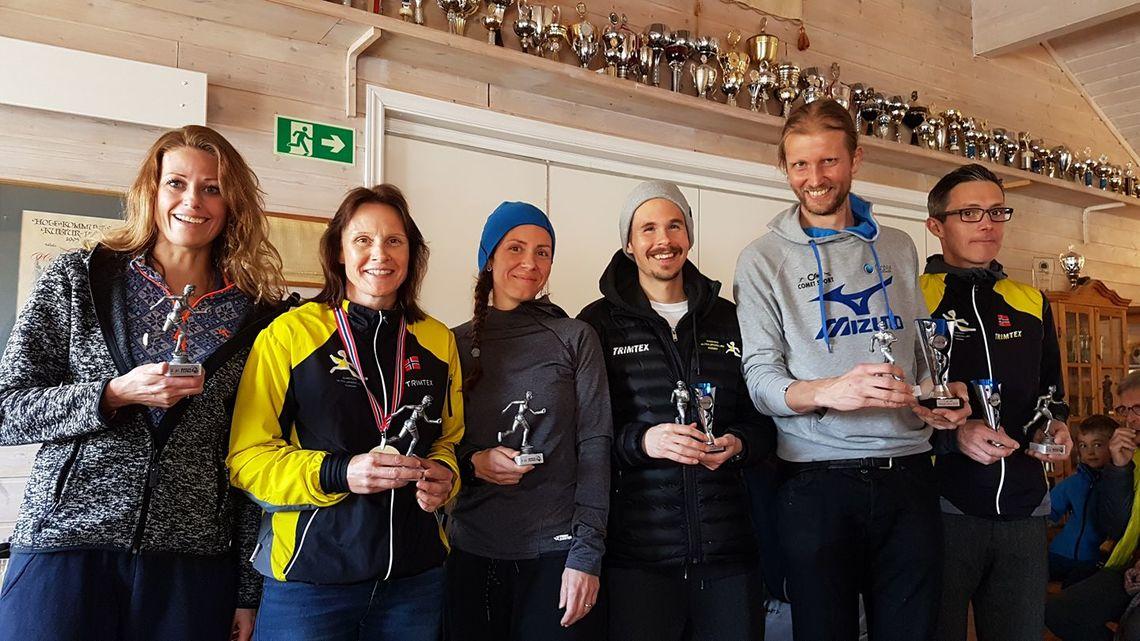 Topp 3 kvinner og menn; Marit Imset, Hilde Johansen, Vivian S Lunde, Magnus Thorud, Gjermund Sørstad og Arne M Lindstad. (Foto: Helge Reinholt)