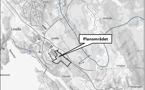 Oversikt planavgrensing Lindås barnehage