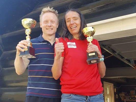 Maratonvinnerne Kim Bertheussen og Guro Skjeggerud. (Foto:Monica Tidemansen Thøgersen)