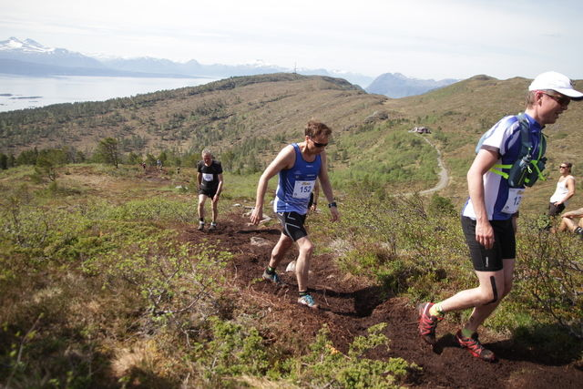 På veg opp mot den første toppen i Moldeheia, Tusenårsvarden. På den andre siden av fjorden og bak Moldeholmane ser vi de langt høyere Vestnesfjella