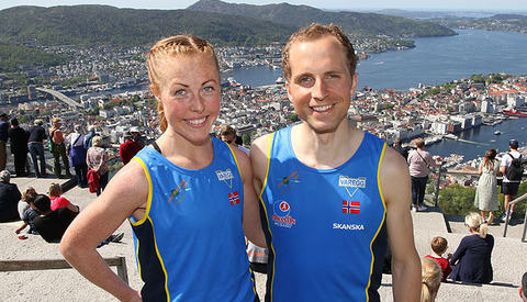 Eli Anne Dvergsdal og Thorbjørn Ludvigsen kan igjen nyte seieren og utsikten fra Fløyen.
