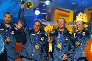 Stafettlaget som tok gull i OL 2002. Frå venstre, Thomas Alsgaard, Anders Aukland, Frode Estil og Kristen Skjeldal. (Bildet er kopiert frå nettsida til Blåfelden Rett Opp)
