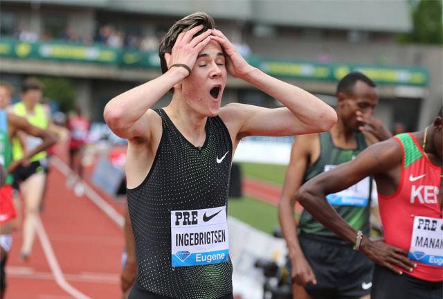 Jakob Ingebrigtsen så like etter målgang knapt ut til å tro det som hadde skjedd. (Foto: arrangøren)
