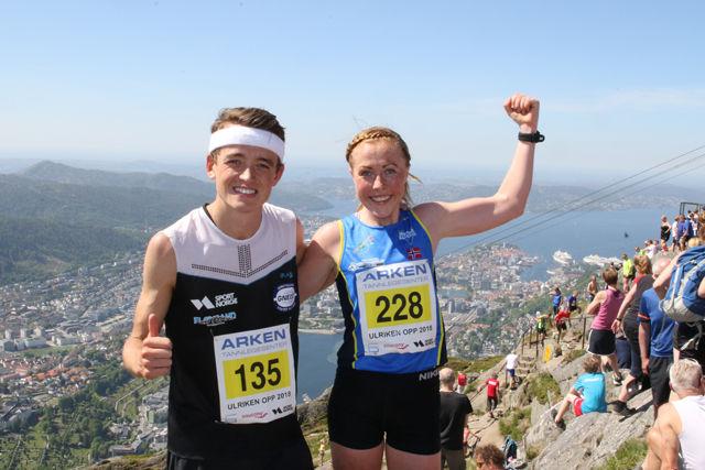 Stian Øvergaard Aarvik og Eli Anne Dvergsdal etter målgang på toppen av Ulriken