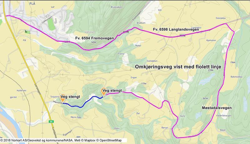 Omkjøringskart Møstadalsvegen