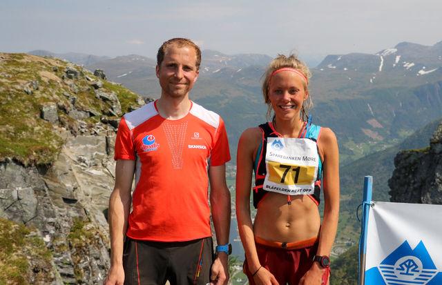 Thorbjørn Ludvigsen og Johanna Åström raskest opp på Blåfelden. Foto: Martin Hauge-Nilsen