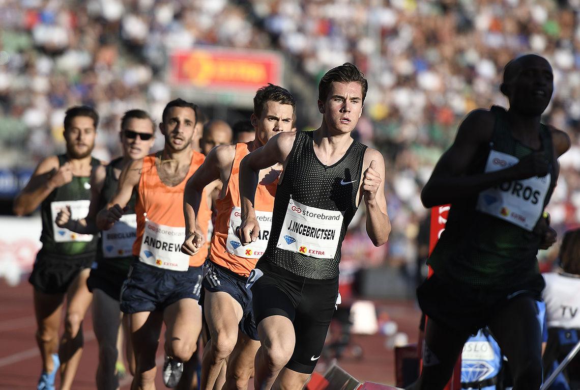 Det er ingen tvil om at en av de yngste deltagerne under Bislett Games også er den største publikumsmagneten. På bildet ser vi Jacob Ingebrigtsen på 1500 meter i fjorårets Diamond League-stevne. (Foto: Bjørn Johannessen)