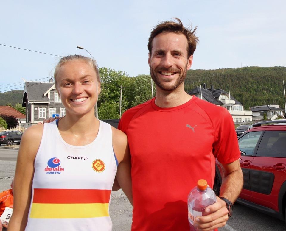 Vinneren av 5 km for kvinner, Ingrid Festø og rekordsetteren på 5 km i herreklassen, Marcus Megrund