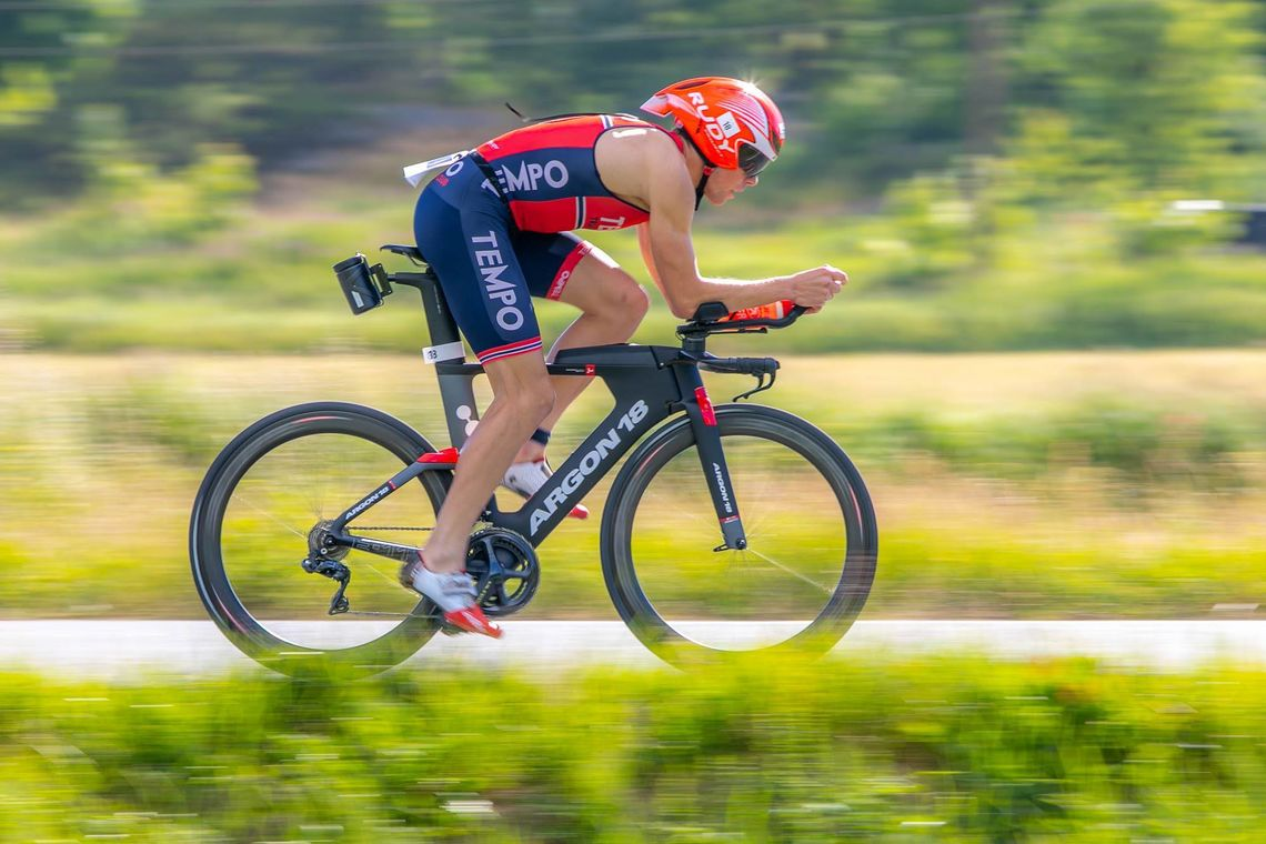Kristian Rød, Sola Triathlonklubb, vant langløypa i årets utgave av Hove Tri. (Foto: May Elin Aunli)