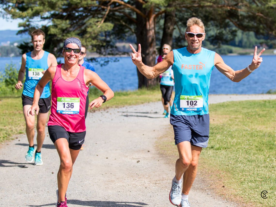 Esther Innselset og Håkom Amb løp halvmaraton på lørdag - og Gå-Joggen på onsdag. (Foto: Sylvain Cavatz)