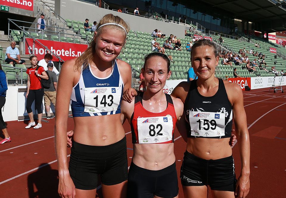 De tre beste på 5000 m: Mariann Roe, Vienna Søyland Dahle og Pernilla Epland. (Foto: Kjell Vigestad)