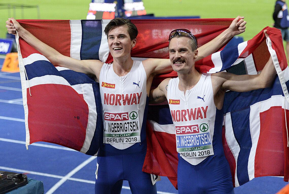 Aldri før er det blitt dobbelt norsk i en EM-finale i friidrett. Ingebrigtsen-brødrene har virkelig grunn til å juble. (Foto: Bjørn Johannessen)