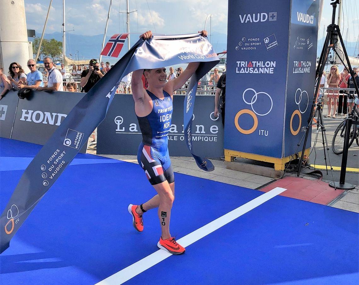 Gustav Iden vant Challenge Daytona i Florida. Bildet er fra da han vant World Cup triatlon i Lausanne 2018 (foto_Arild_Tveiten_Norges Triatlonforbund)