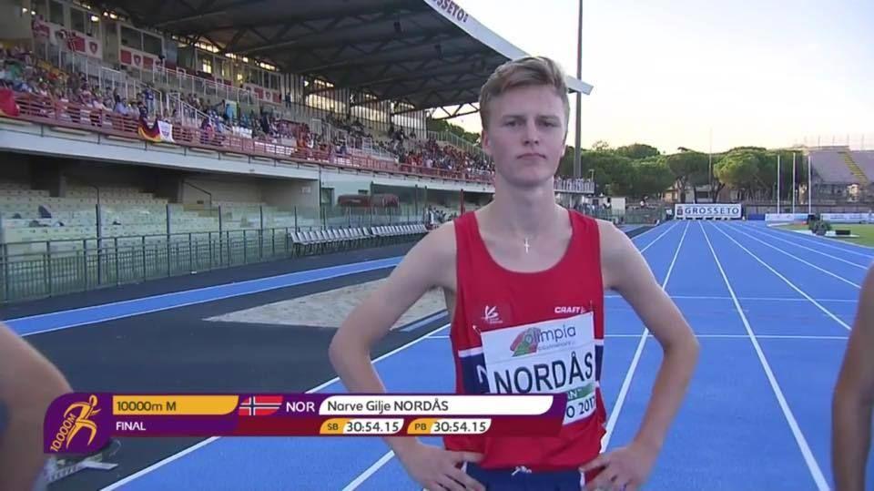 Narve Gilje Nordås vant årets Djupadalten. Her fotografert etter 5. plass på 10000 m i U20 EM i fjor. Foto: Jan Erik Wergeland