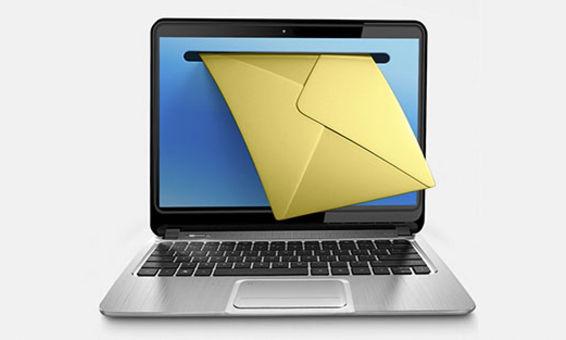 Bærbar pc med bilde av et brev