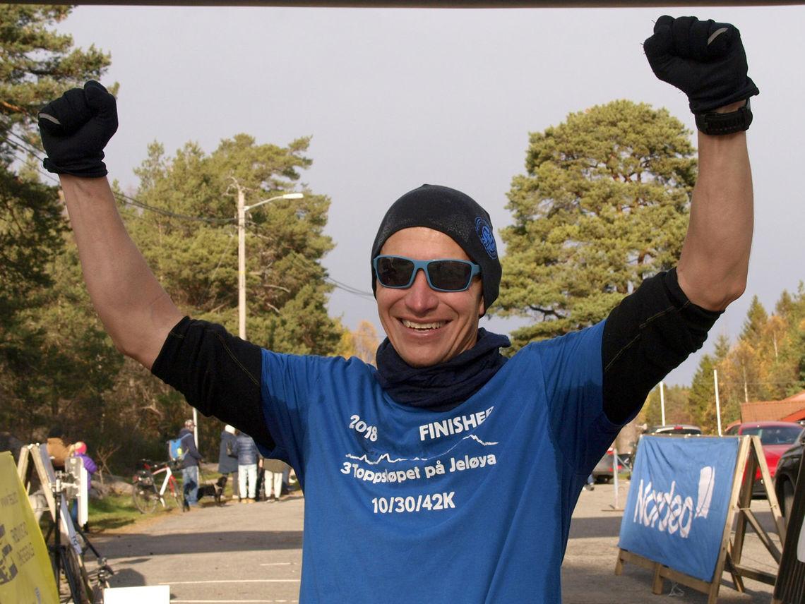 Henning Pedersen kunne juble for ny seier i Fredrikstad Maraton. Foto: Rolf Gundersen