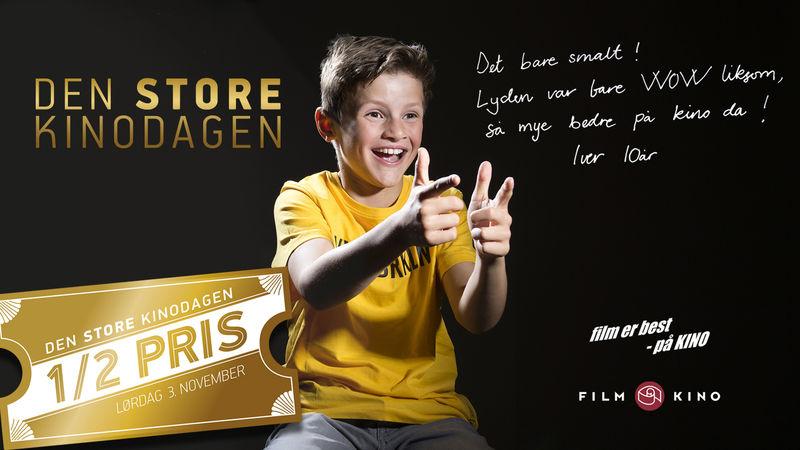 Reklamefoto av den store kinodagen 2018. Bildet viser en engasjert gutt som forteller om en kinoopplevelse.