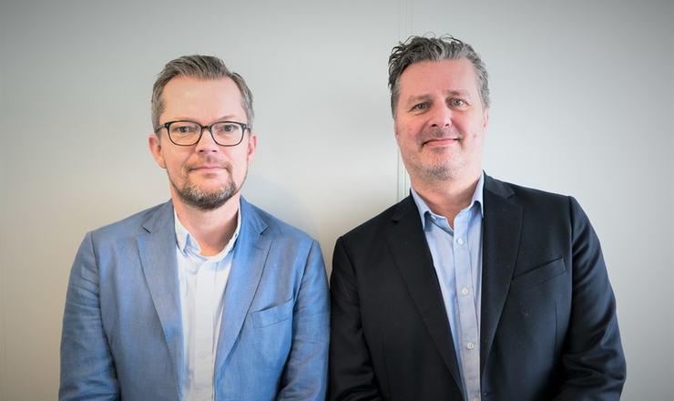 Geir Grindland t.v og Dag Tallerud i Inkasso Partner AS.