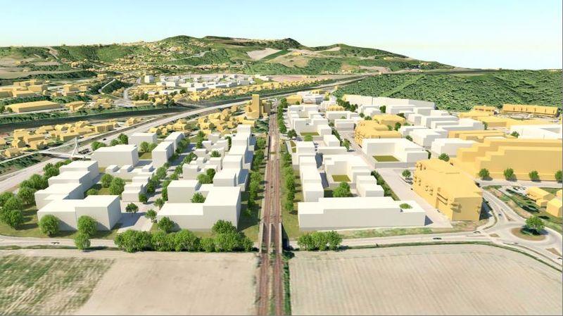 Illustrasjon av fremtidens Melhus sentrum