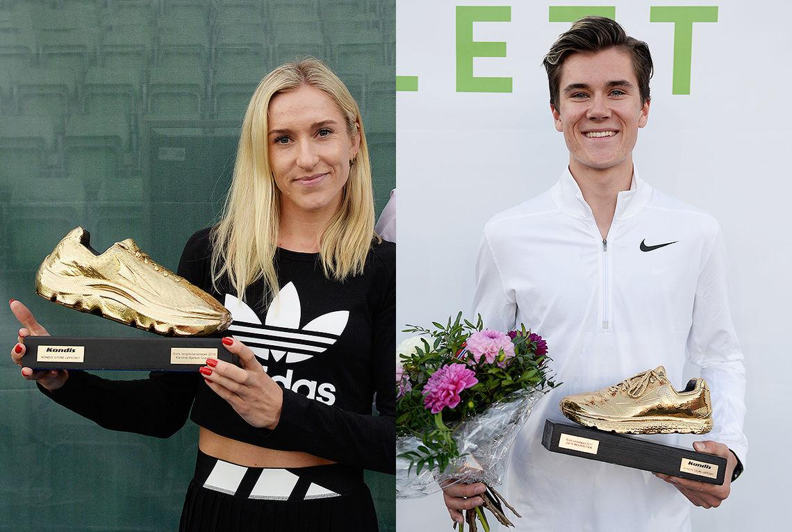 Karoline Bjerkeli Grøvdal og Jakob Ingebrigtsen kan motta Kondis' gullsko som landets beste langdistanseløpere i 2018. (Foto: Bjørn Johannessen)