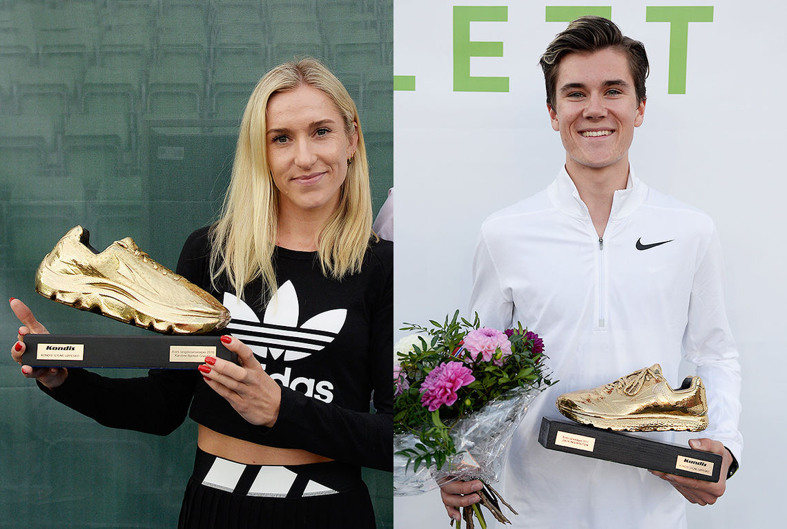Karoline Bjerkeli Grøvdal og Jakob Ingebrigtsen kan motta Kondis' gullsko som landets beste langdistanseløpere i 2019. (Foto: Bjørn Johannessen)