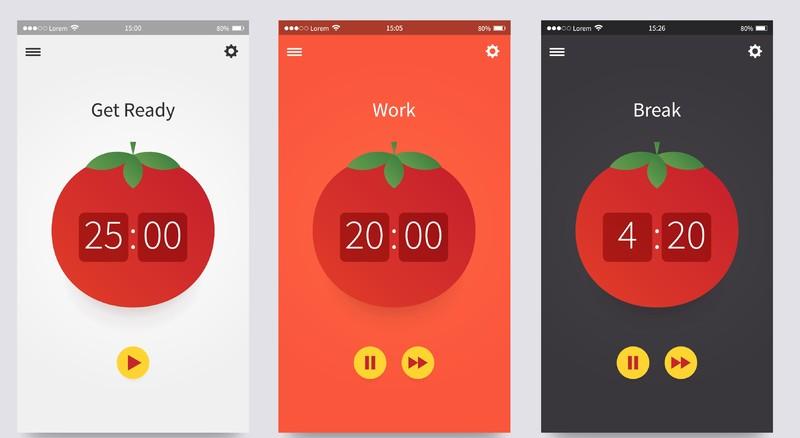 Pomodoro technique. App ui design