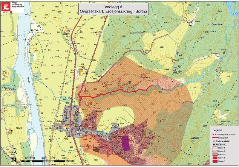 Kart over området på Ler