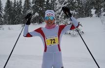 Barbro Sætha etter å ha sikret seg sesongens andre turrenn-seier på Hedmarksvidda. (Foto: Stein Arne Negård)