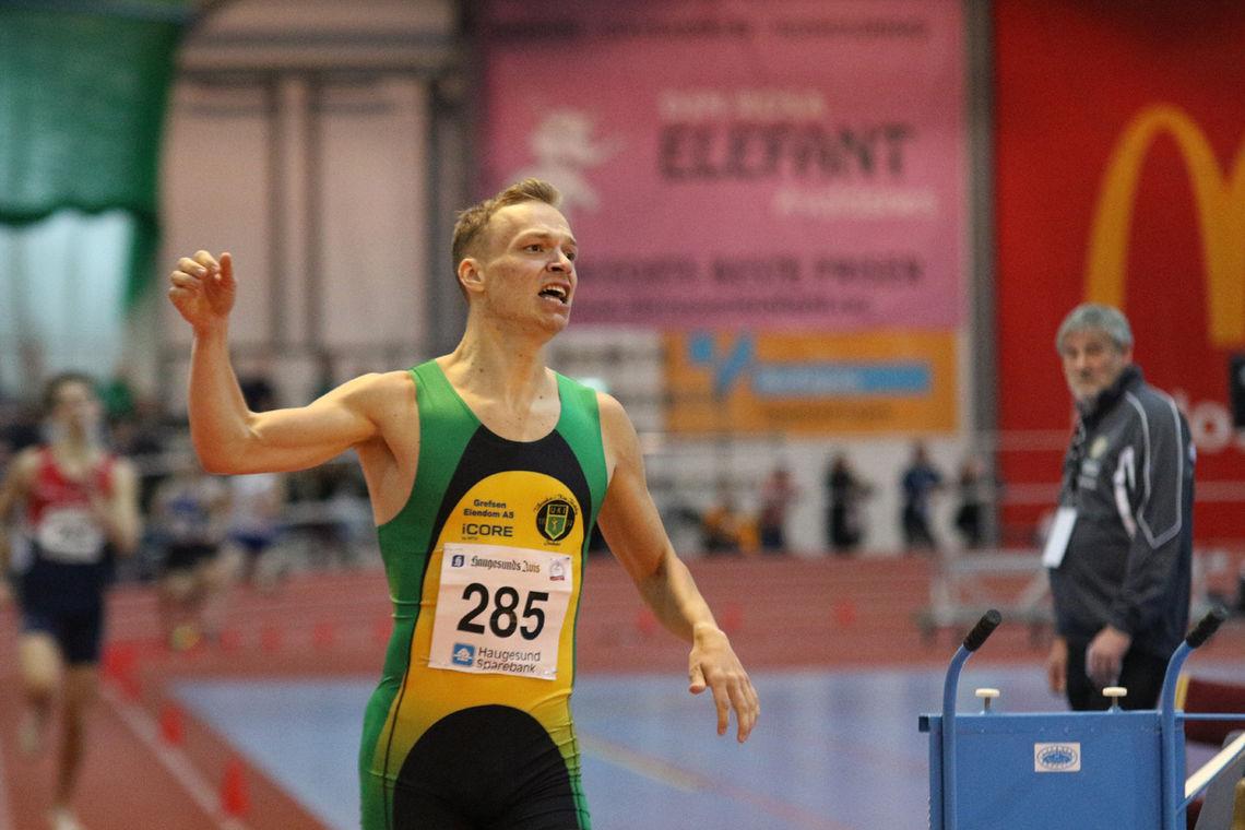 Markus Einan fra innendørs-NM i februar der han vant 800-meteren og kvalifiserte seg for EM. (Foto: Tom Roger Johansen)