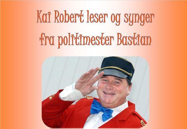 Banner Kai Robert leser og synger fra politimester Bastian. Lørdag 13.april 2019 Rakkestad bibliotek.jpg