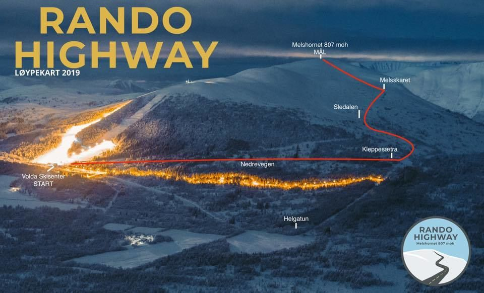 Løypekart, Start ved Volda skisenter og mål på Melshornet 807 moh. Arrangør.