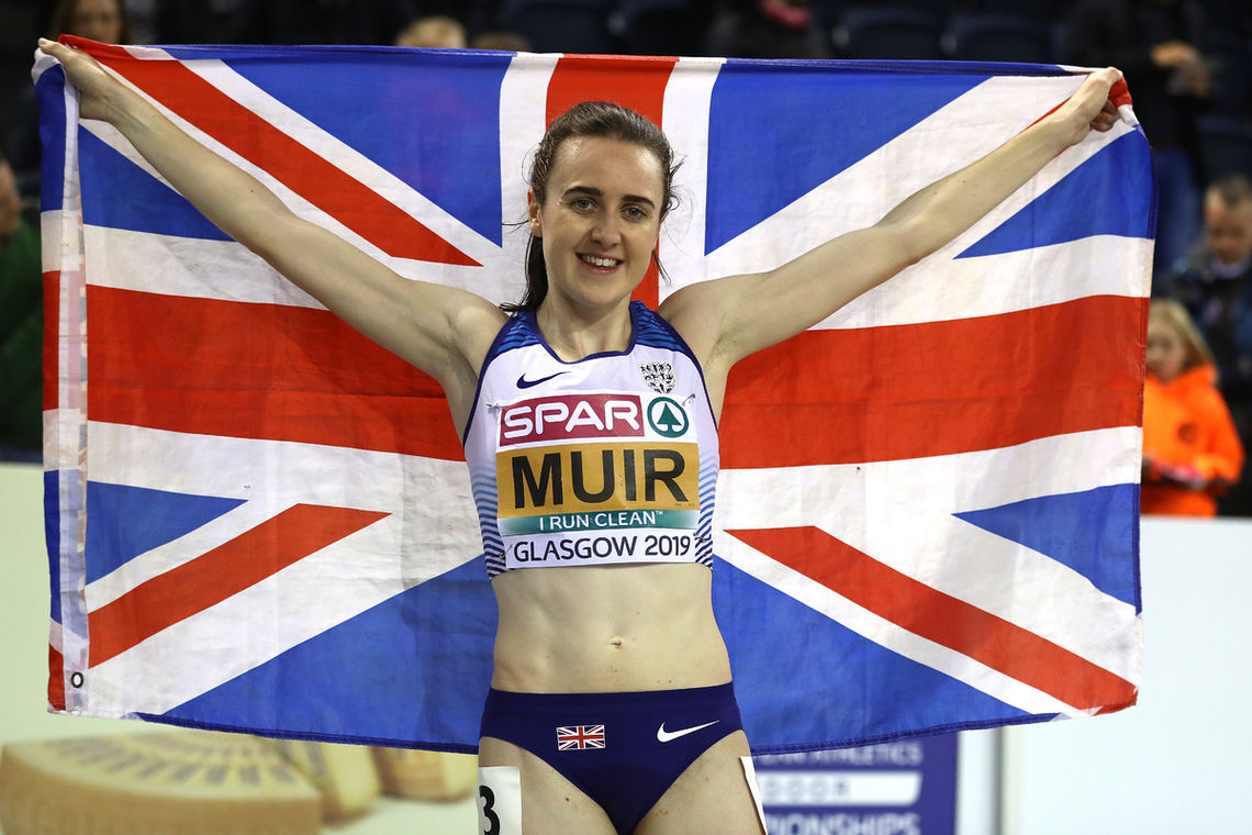 GLASGOW, SCOTLAND - MARCH 01:  Laura Muir of Great Britain celebrates winning gold in the final of the women