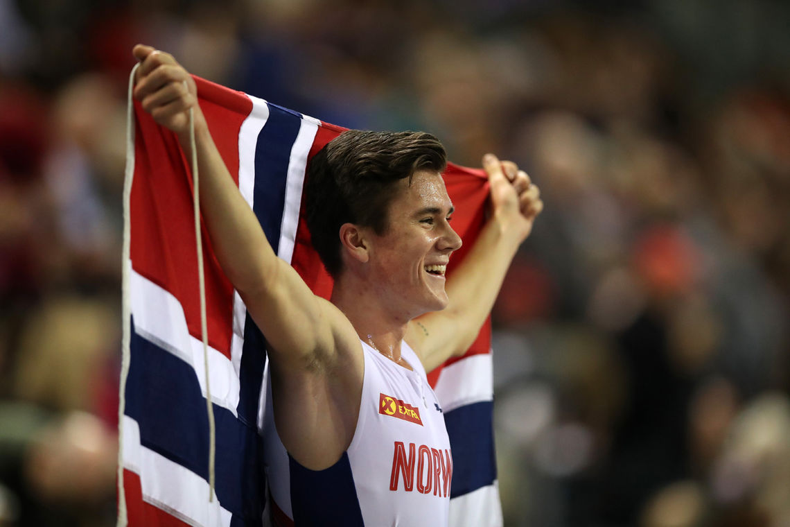 2019 European Athletics Indoor Championships - Day Two  Jakob Ingebrigtsen historisk gullvinner i Glasgow på 3000m. Foto: Ian MacNicol, arrangørene