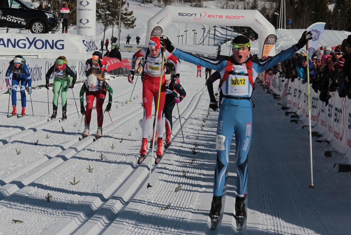 Martin Christoffer Borg IL spurtet inn til seier i klasse 14 år sekundet foran Egil Mæhlumssveen, Byåsen IL og Olver Finstad Nytrøen.