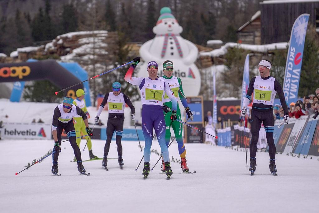 Dario Cologna vinner foran Jean-Marc Gaillard og Anders Gløersen som blir nummer tre. Foto: Sandra Åhs- Sivertsen (Wsportsmedia)