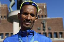 Ebrahim Abdulaziz (41 år) ble med 1.06.02 fra Sandnesløpet norsk mester på halvmaraton i fjor, og løpet var også det beste veteranresultatet på halvmaraton blant menn ut fra veterantabellene (Foto: Bjørn Johannessen).