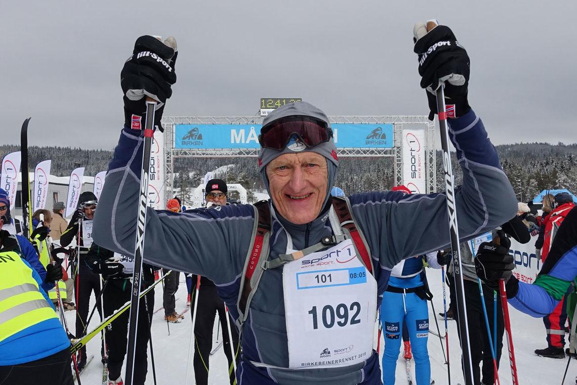 Åge Ludvigsen i mål i sitt 56. Birkebeinerrenn.