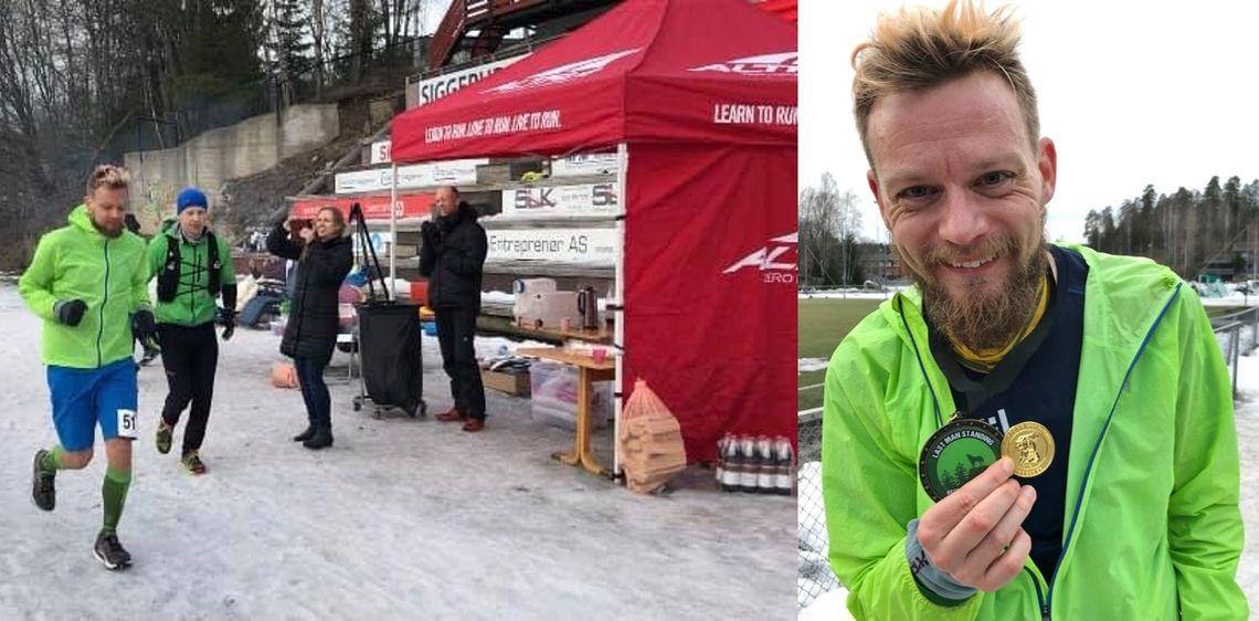 Tobias Gyllebring vant det første Last Man Standing i Østmarka etter 33 timers innsats. Til venstre ser vi han og toeren Theodor Moen legge ut på den 33. runden i terrenget.