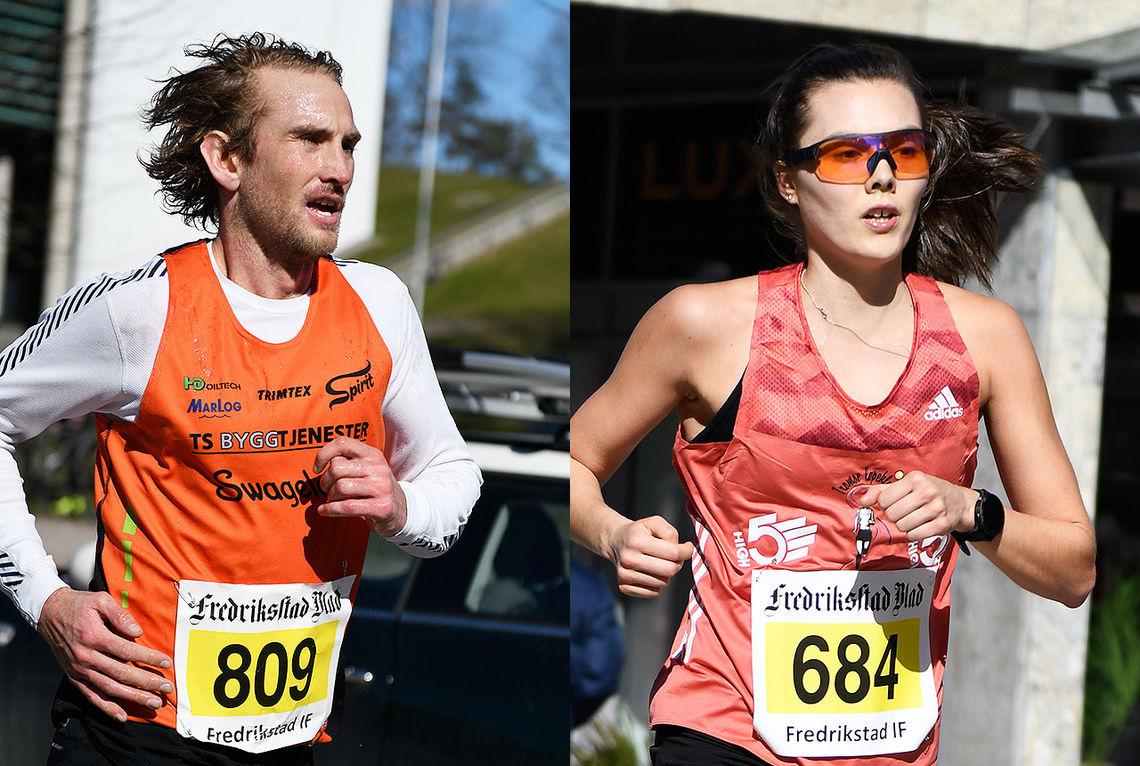 Halvmaraton i Fredrikstadløpet ble vunnet av Thomas Asgautsen, mens Yngvild Kaspersen vant kvinneklassen. (Foto: Bjørn Johannessen)