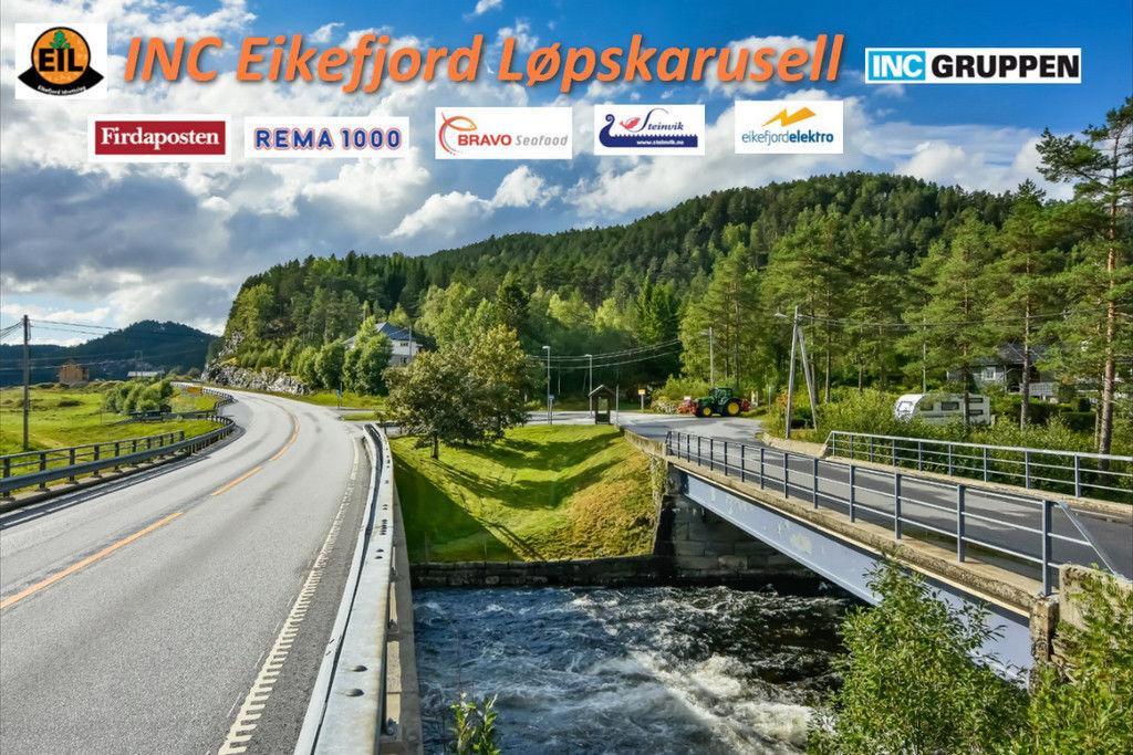 Landeveisløpene INC Eikefjord Løpskarusell går i naturskjønne omgivelser på Storebru i Flora Kommune, midt i mellom Florø og Førde i Sogn og Fjordane. (Foto: Ronny Osland)