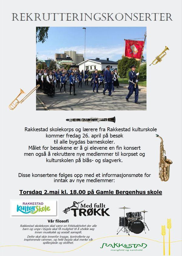 Plakat Rekrutteringskonsert med Rakkestad kulturskole og Rakkestad skolekorps 26.april 2019 Rakkestad kommune.jpg