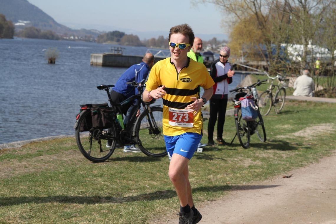 Egil Frydenlund fra Sturla Orientering var en av 143 løpere som fullførte maraton eller halvmaraton i Drammen andre påskedag. (Foto: Olav Engen)