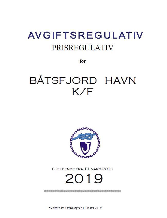 Båtsfjord Havn Prisregulativ 2019