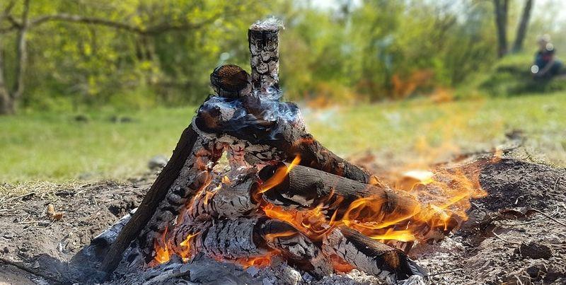 Nærbilde av et brennende bål. I bakgrunnen ser vi grønt gress og trær med grønne blader.